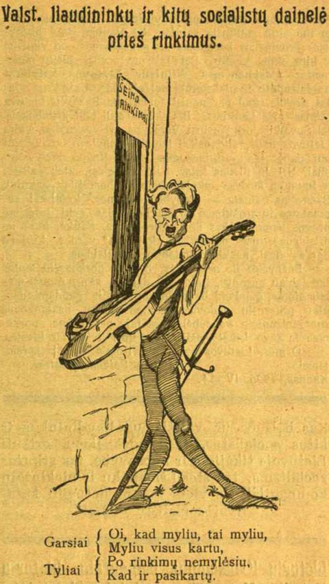 """Kazį Grinių vaizduojanti karikatūra """"Tėvynės sarge"""" 1926 m. epaveldas.lt nuotr."""