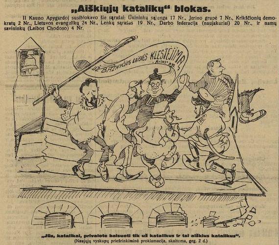 """Krikščionis demokratus vaizduojanti karikatūra  """"Lietuvos žiniose"""" 1926 m. epaveldas.lt nuotr."""